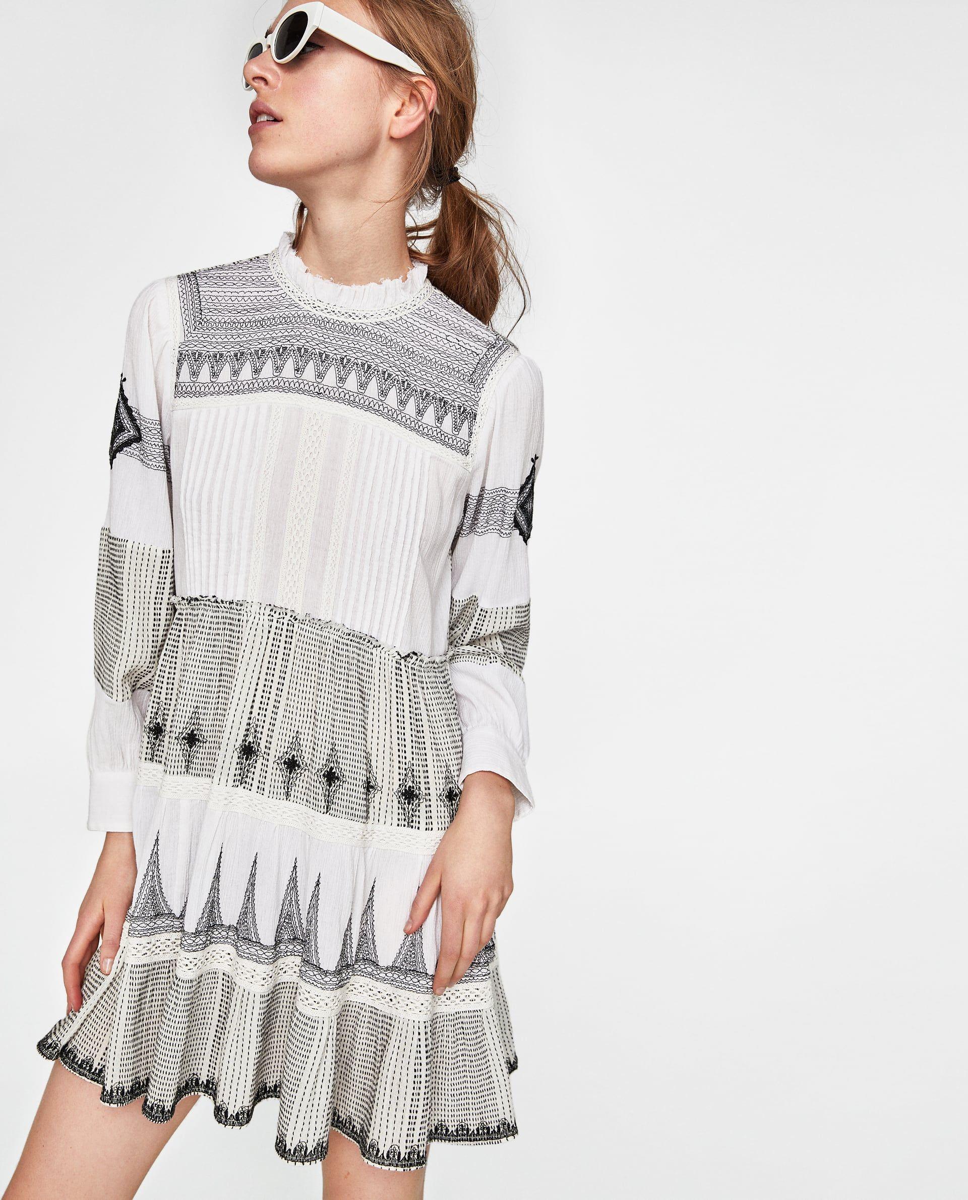 53daa347b43a MINI DRESS WITH CONTRASTING EMBROIDERY Zara Mini, Mini Robes, Zara United  States, Fringe