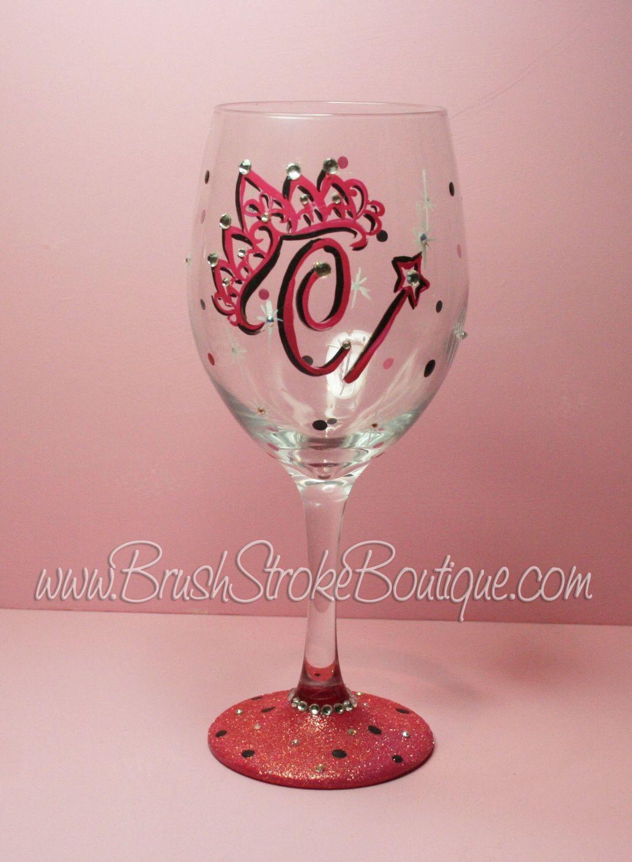 Hand Painted Wine Glass Tiara Initials Original Designs By Cathy Kraemer Hand Painted Wine Glass Painted Wine Glass Wine Glass