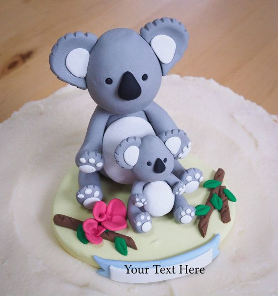 Mommy And Baby Koala Bear Cake Topper Personalized Keepsake