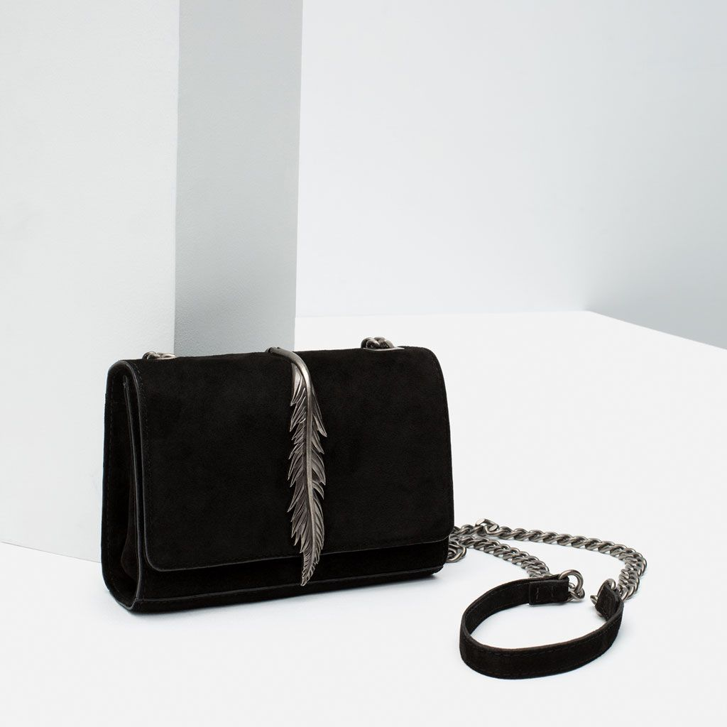 498fab96 Image 3 of LEATHER MESSENGER BAG WITH METAL DETAIL from Zara ...
