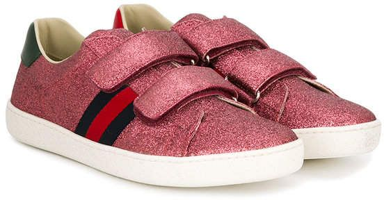Web Gucci Paillettes Enfants Bas Top Sneakers - Rose Et Violet EmmGVPF7