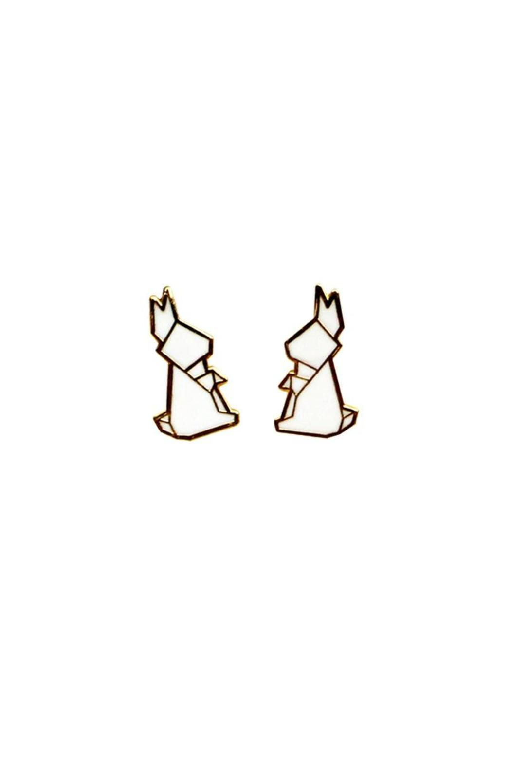Add a touch of adorable style with this set of earrings from Hug A Porcupine. Features: Origami-inspired. Durable, lightweight design Material: Cosmetic gold plated metal + colored enamel.    Dimensions: Country of Origin: Made in Singapore    Rabbit Earrings by Orikami. Accessories - Jewelry - Earrings - Studs New York City