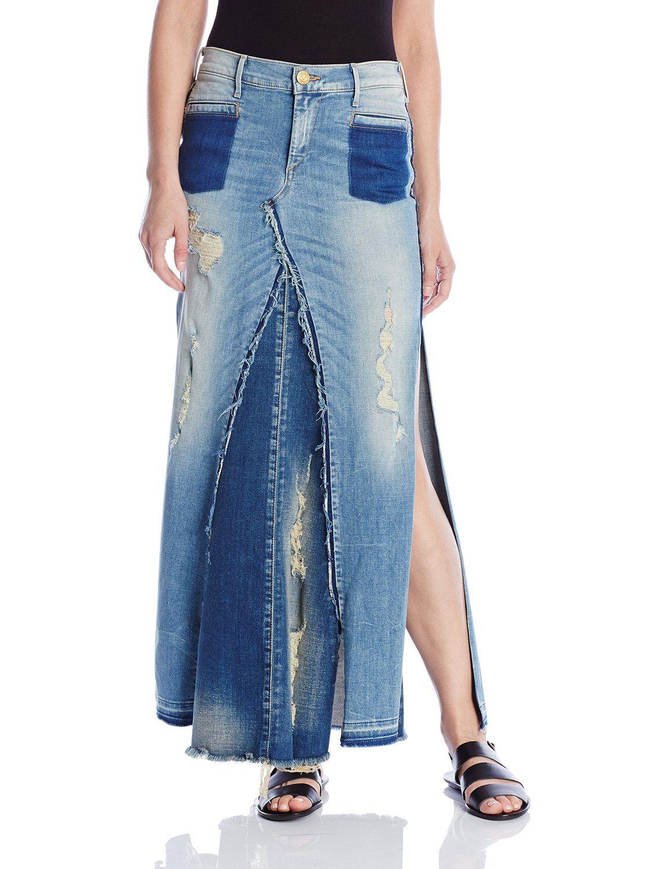 4710c993a Amazon.com: True Religion Women's Pieced Denim Skirt In Indigo Haze  Destroyed: Clothing