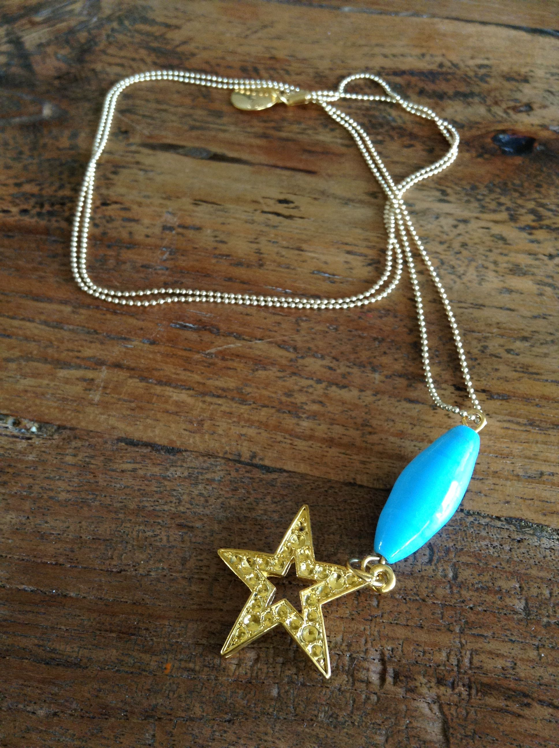 Handmade star and bead gold coloured