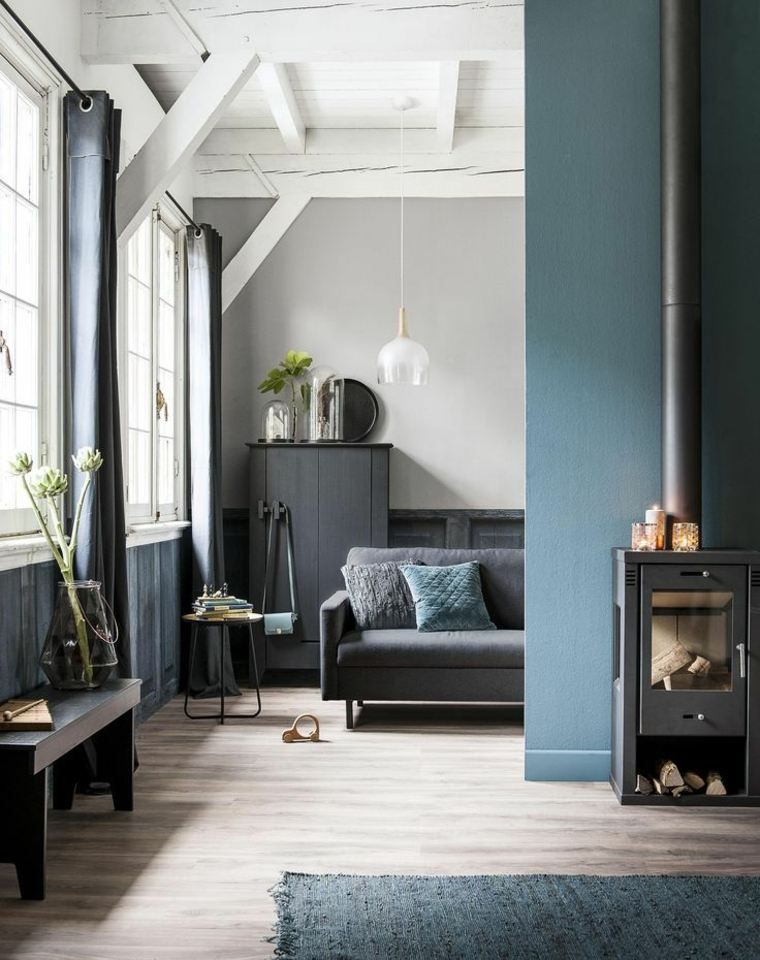 salon bleu p trole bleu canard et bleu paon couleurs pinterest gris bleu r ussir et. Black Bedroom Furniture Sets. Home Design Ideas