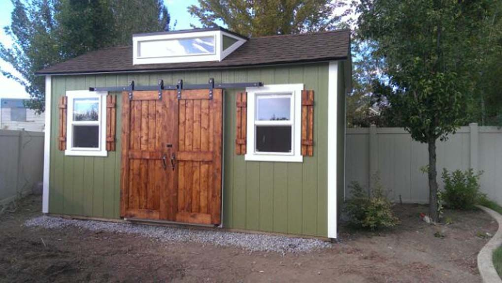 10 X 16 Ranch Style Shed With 6 Double Sliding Barn Doors Shed Diy Shed Barn Door