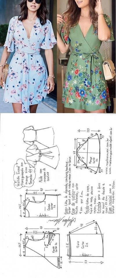 Vestido evasê transpassado com manga sino | DIY - molde, corte e ...