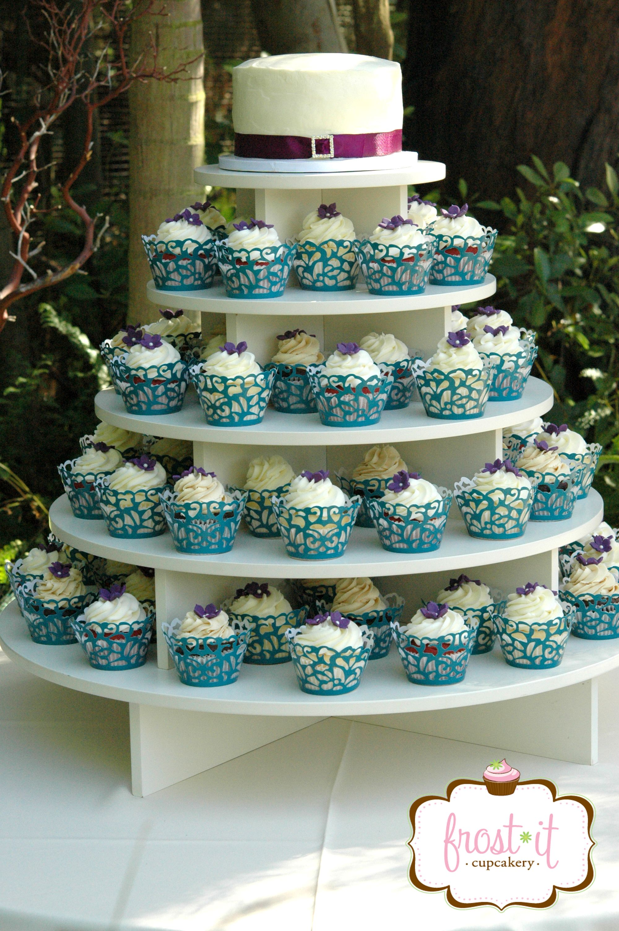 small wedding cake with cupcakes custom wedding cupcake tower for peacock themed wedding 20249