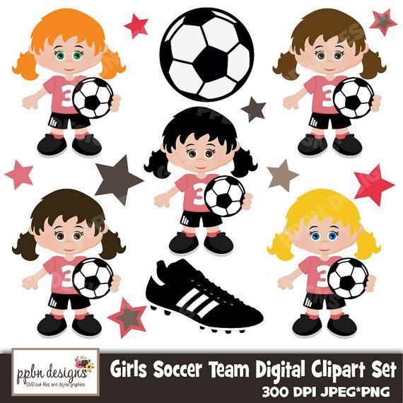 Girls Soccer Team Digital Clipart And Paper For By Ppbndesigns 5 00 Arte Da Sala De Criancas Futebol Feminino Bola De Futebol