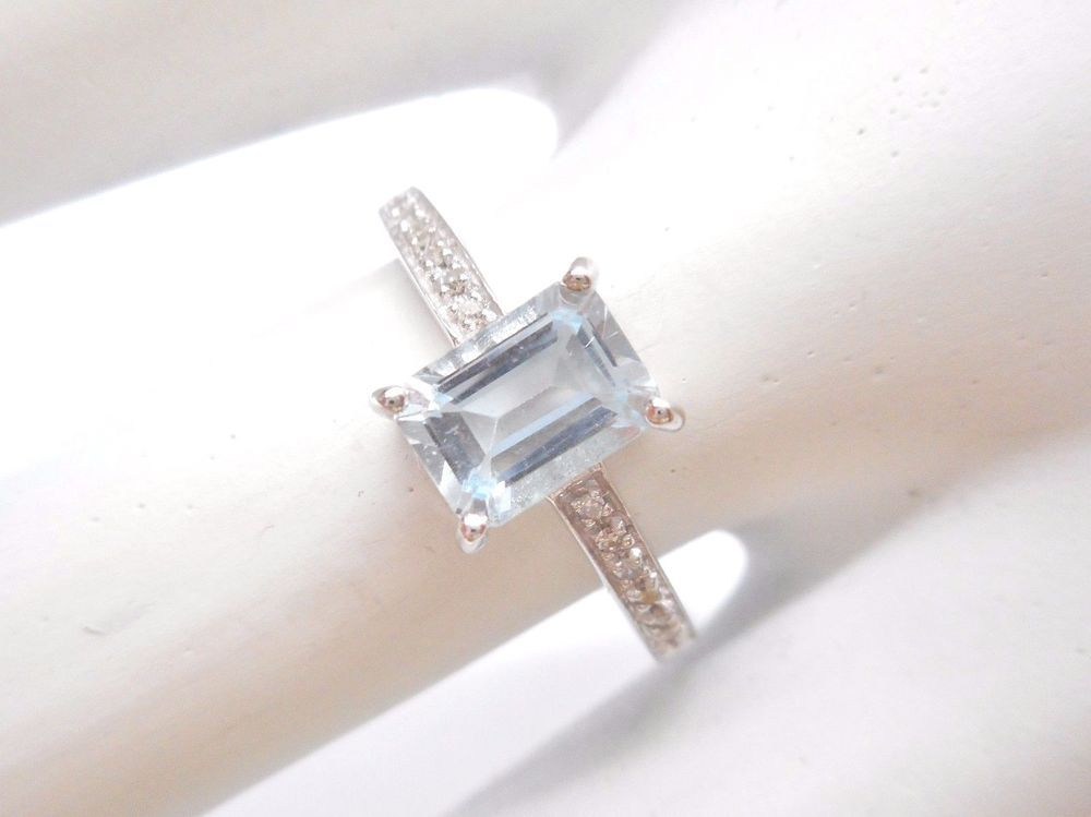 Sale 10k White Gold Natural Aquamarine Diamond Accent 95 Tcw Ring Nwt 2346 Diamond Wedding Bands Stackable Diamond Shape Earrings Delicate Gold Ring