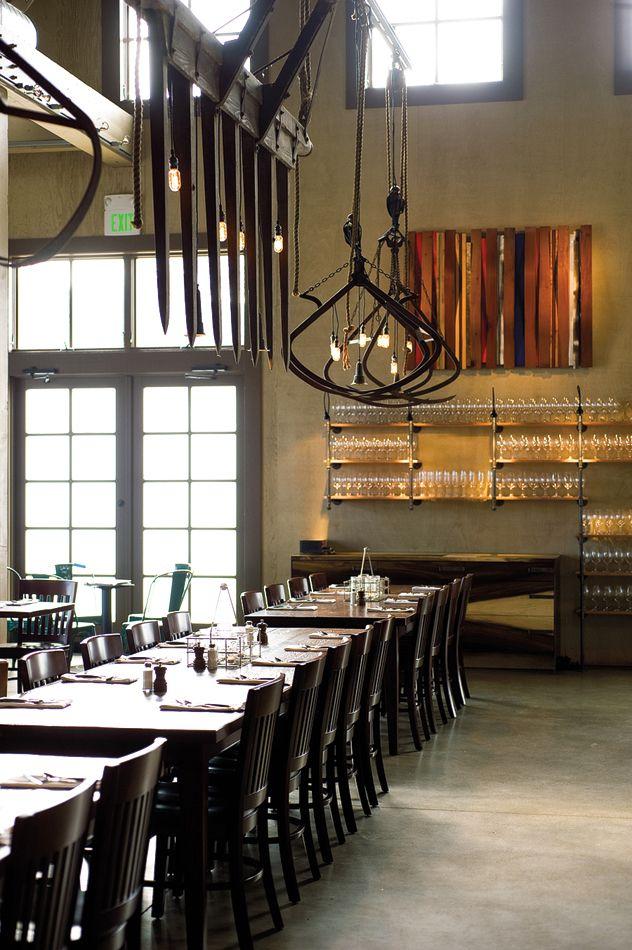 Farmstead Restaurant By EDG Interior Architecture Long Table Lights Glass  Shelves
