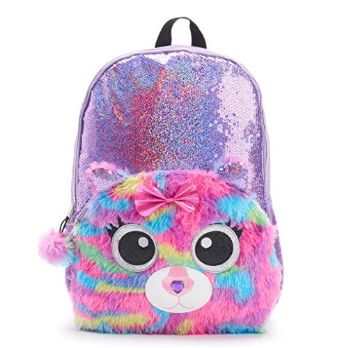 dad5557fcb New Critter Backpack Kids Girls 17 Inch Sequin Backpack with Plush Kitty  Cat Critter online.