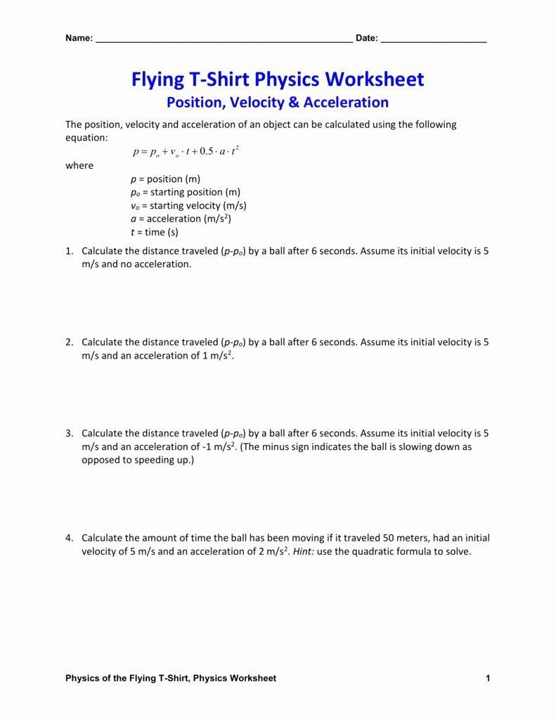 Determining Speed Velocity Worksheet Answers New Velocity And Acceleration Worksheet Answer Key In 2020 Worksheets Calculating Speed Worksheet Template