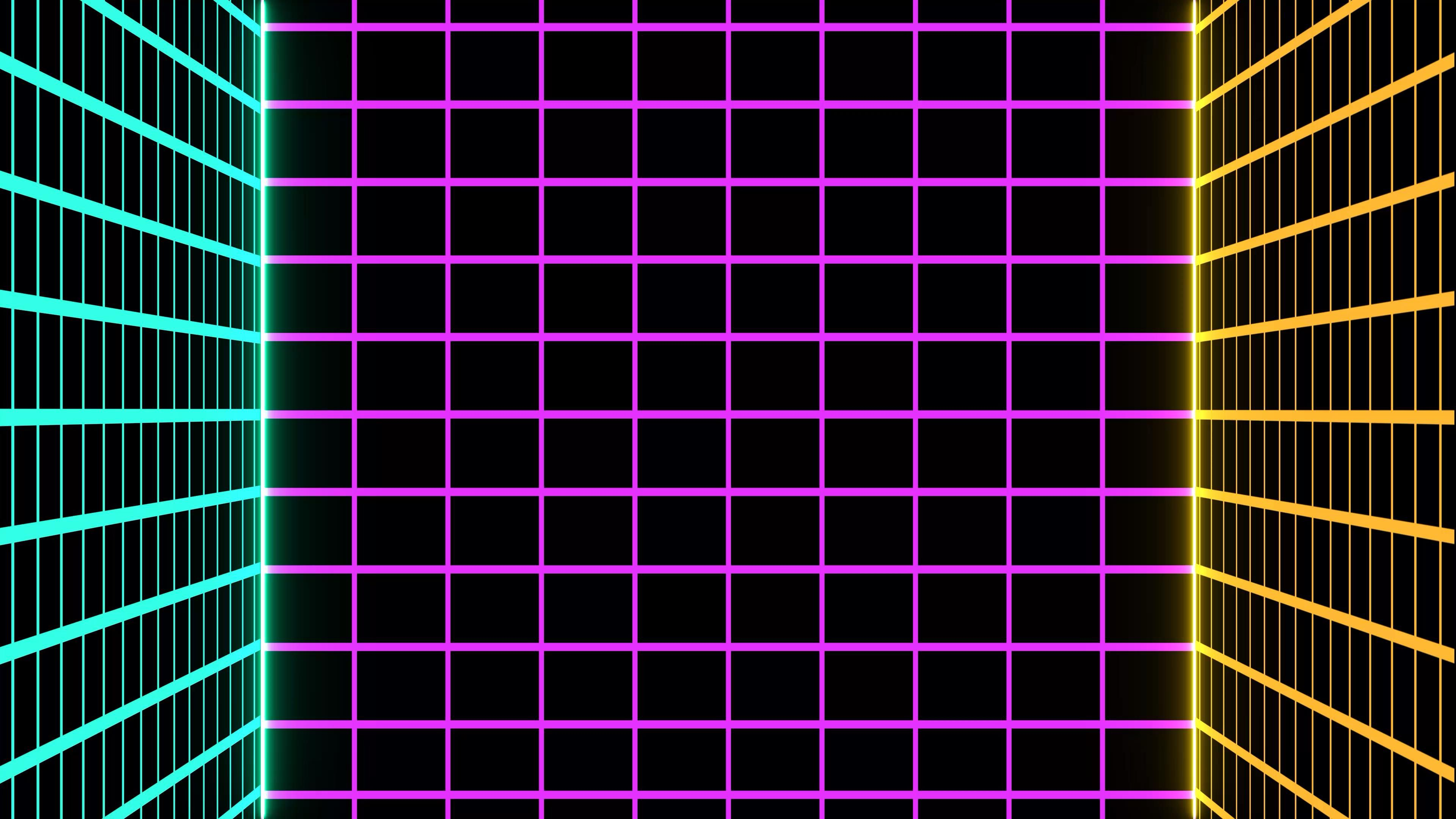 Free Motion Graphic Virtual Background 👾 Retro Neon Grid 80s Cyberpunk VJ Loop