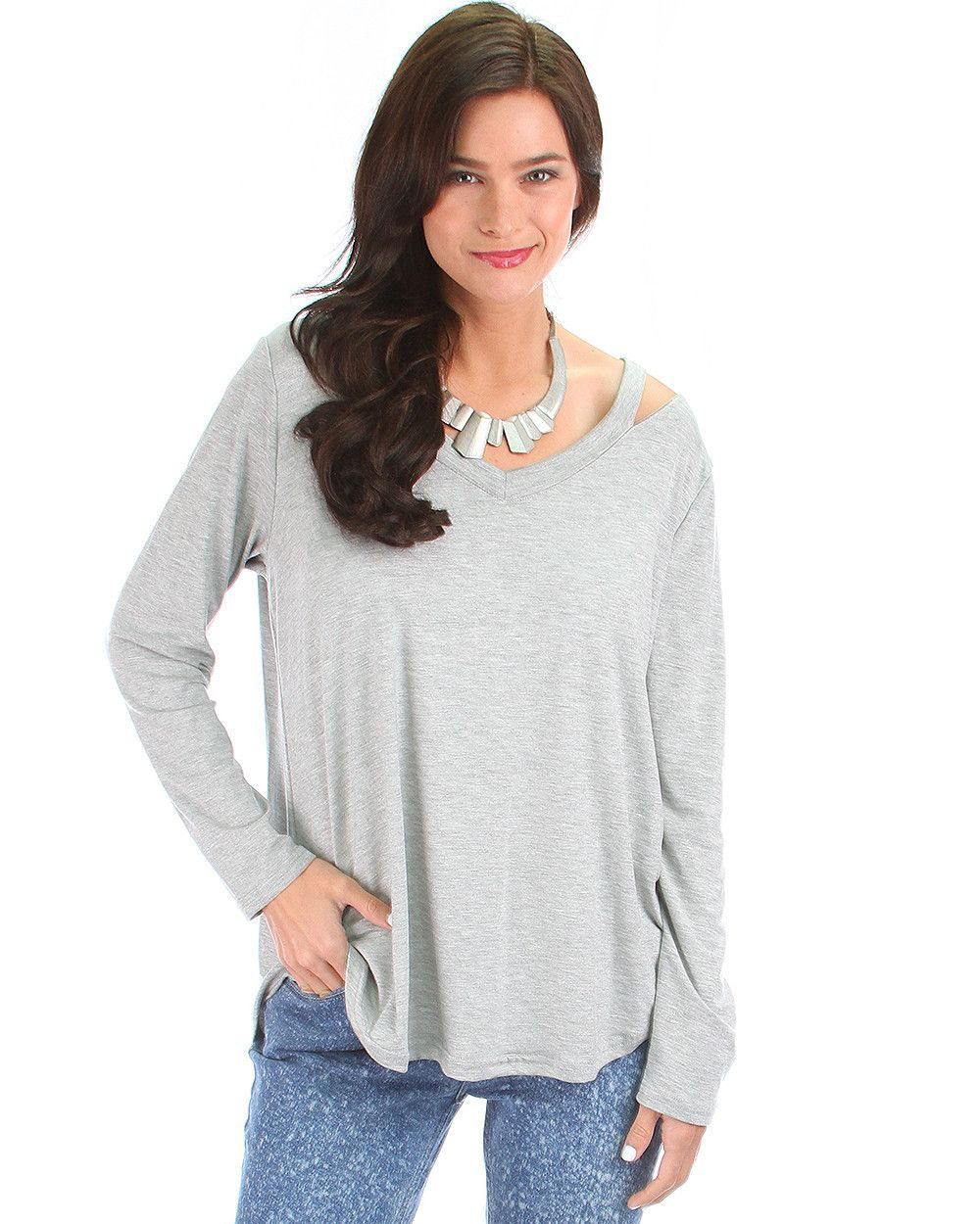 Cut Me Out! Long Sleeve Top In Grey