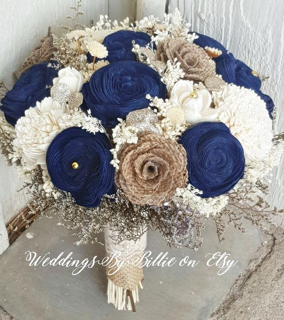 Navy Blue Sola Bouquet Champagne Ivory By Weddingsbybillie