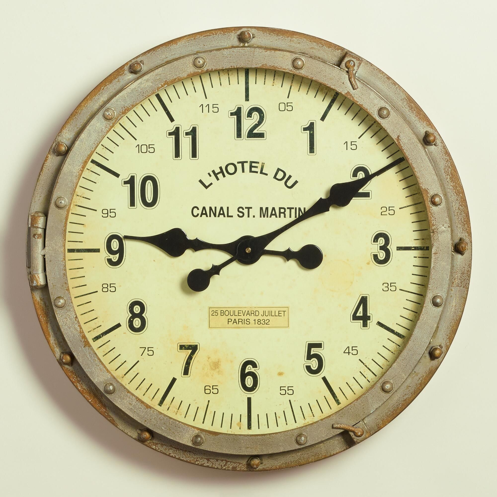 rivet industrial metal world bryce bathroom wall clock pin market clocks decor