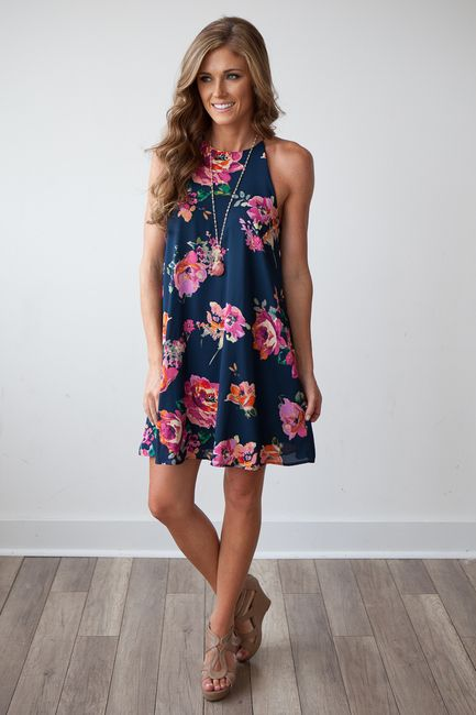 83f88cc837167 Shop our beautiful fully lined floral print navy shift dress. Free ...
