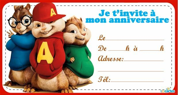 invitation anniversaire gratuite d 39 alvin et les chipmunks. Black Bedroom Furniture Sets. Home Design Ideas