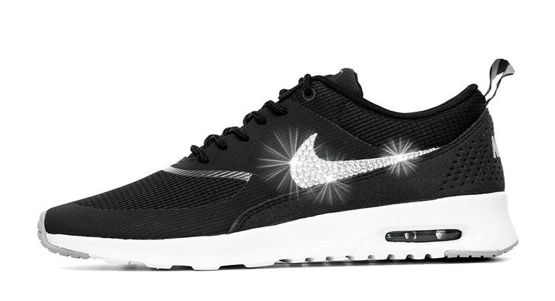 2018 Shop 2018 glitter kicks Nike Air Max Thea Customized With Swarovski  Crystals Black Grey White c889697294