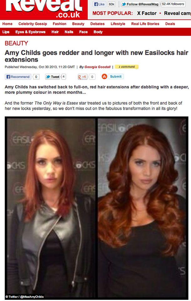 Amy Childs Celebrities Wearing Easilocks Hair Extensions