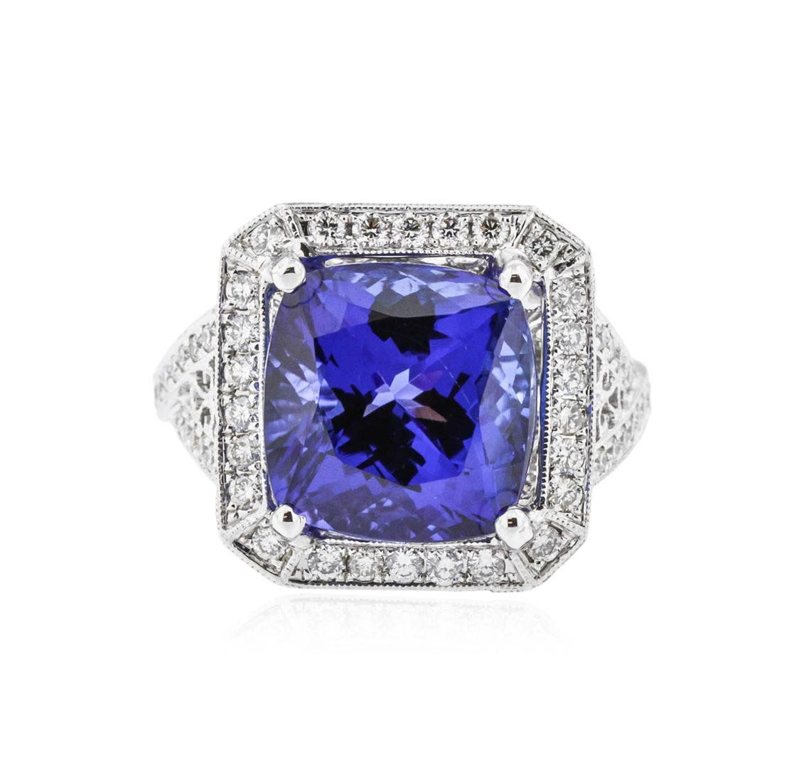 tanzanite diamond cut and q ring emerald gia white natural certified kt tcw gold blue