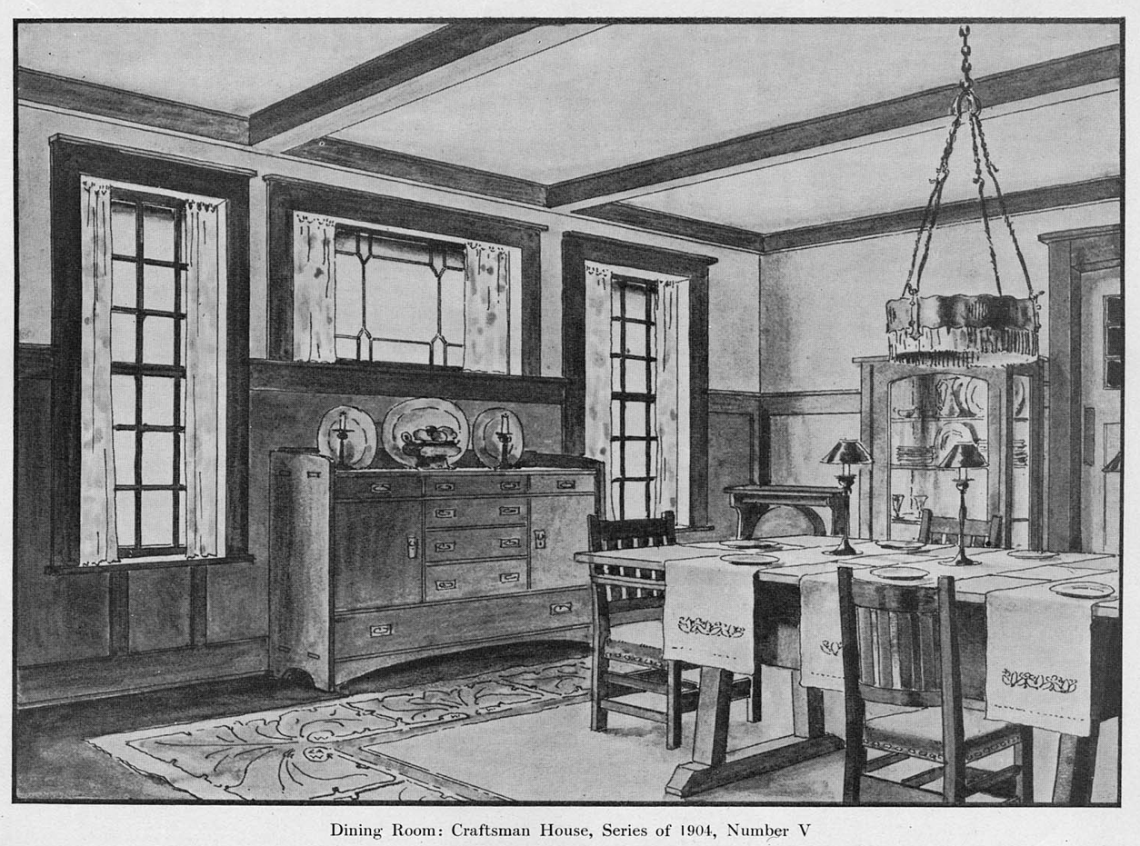 Laurelhurst 1912 Craftsman Dining Room From Magazine Showing Table Runners