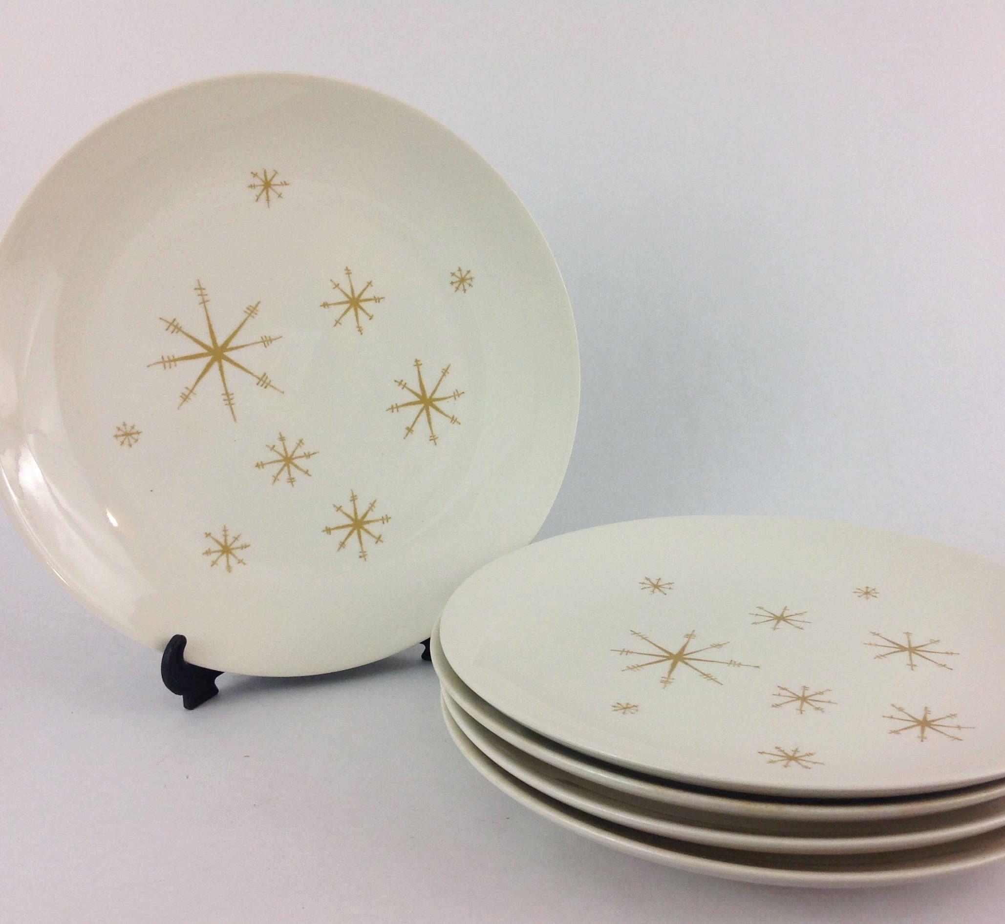 Vintage Royal China Star Glow Dinner Plates Set of 5 Atomic 10  Snowflake Dinnerware Sputnik Retro by LakesideVintageShop on Etsy & Vintage Royal China Star Glow Dinner Plates Set of 5 Atomic 10 ...