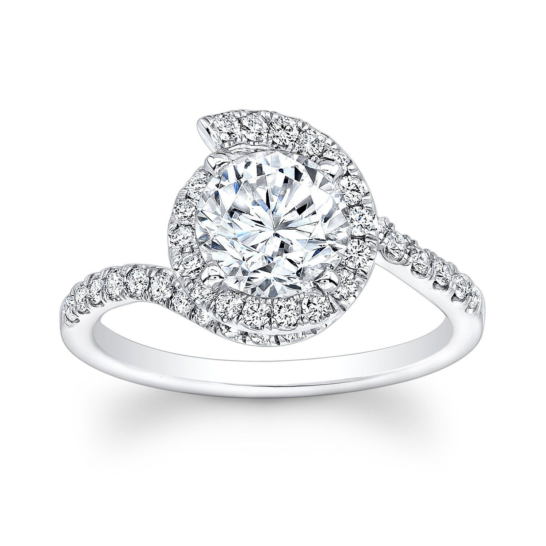 Womens Platinum diamond swirl halo engagement ring with 1 00 ct