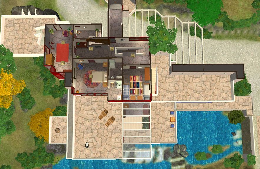 mod the sims frank lloyd wright s fallingwater | arquitectura