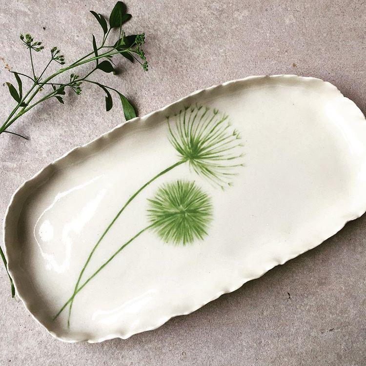 Small hand painted stoneware platter