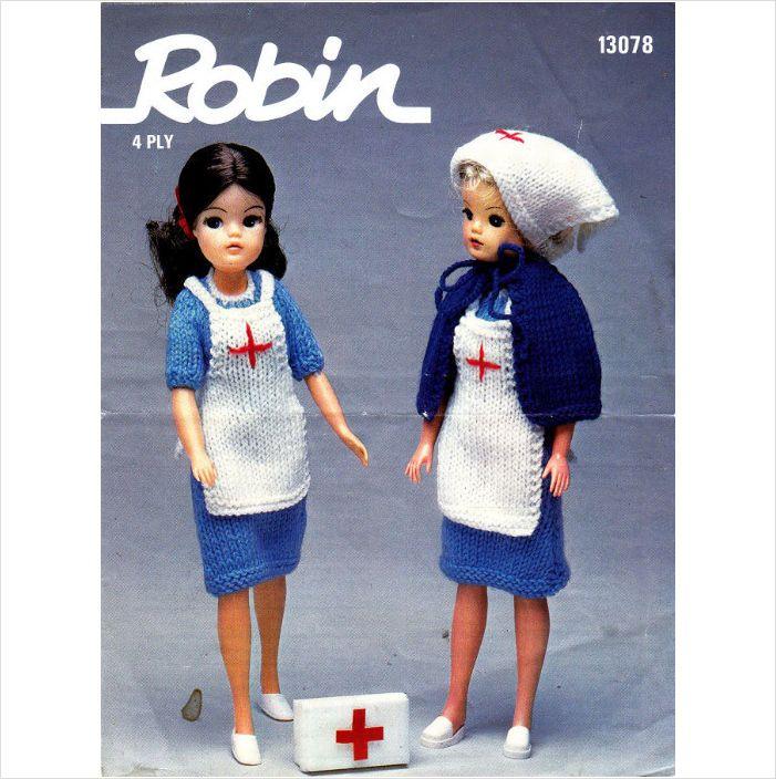 13078 Robin Knitting Vintage Pattern Fashion Doll Nurse Outfit Sindy
