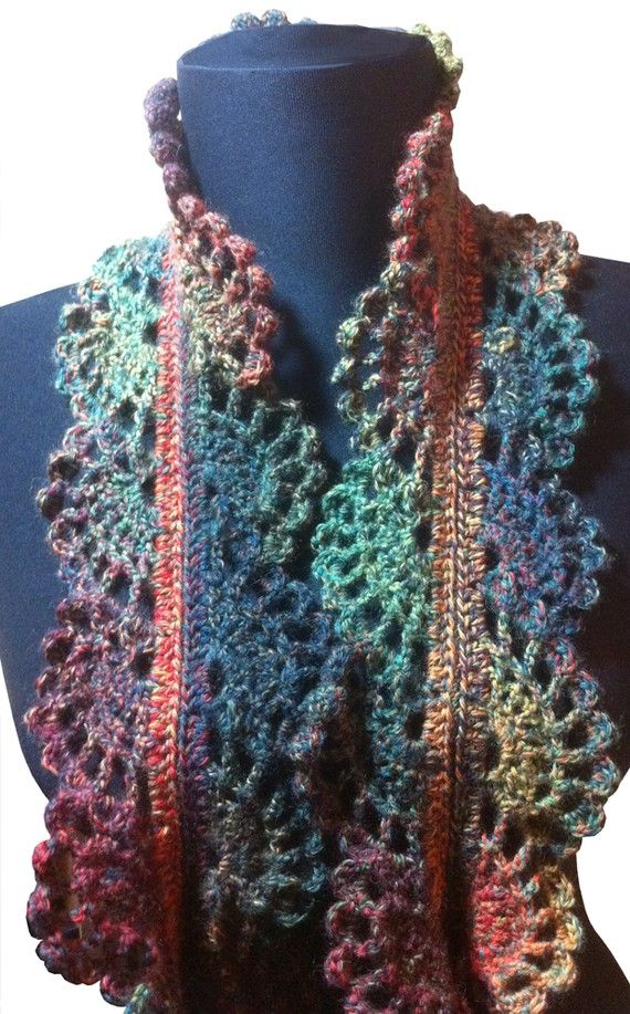 Filigree Lace Sock Yarn Skinny Scarf Crochet Pattern Cowlscarf