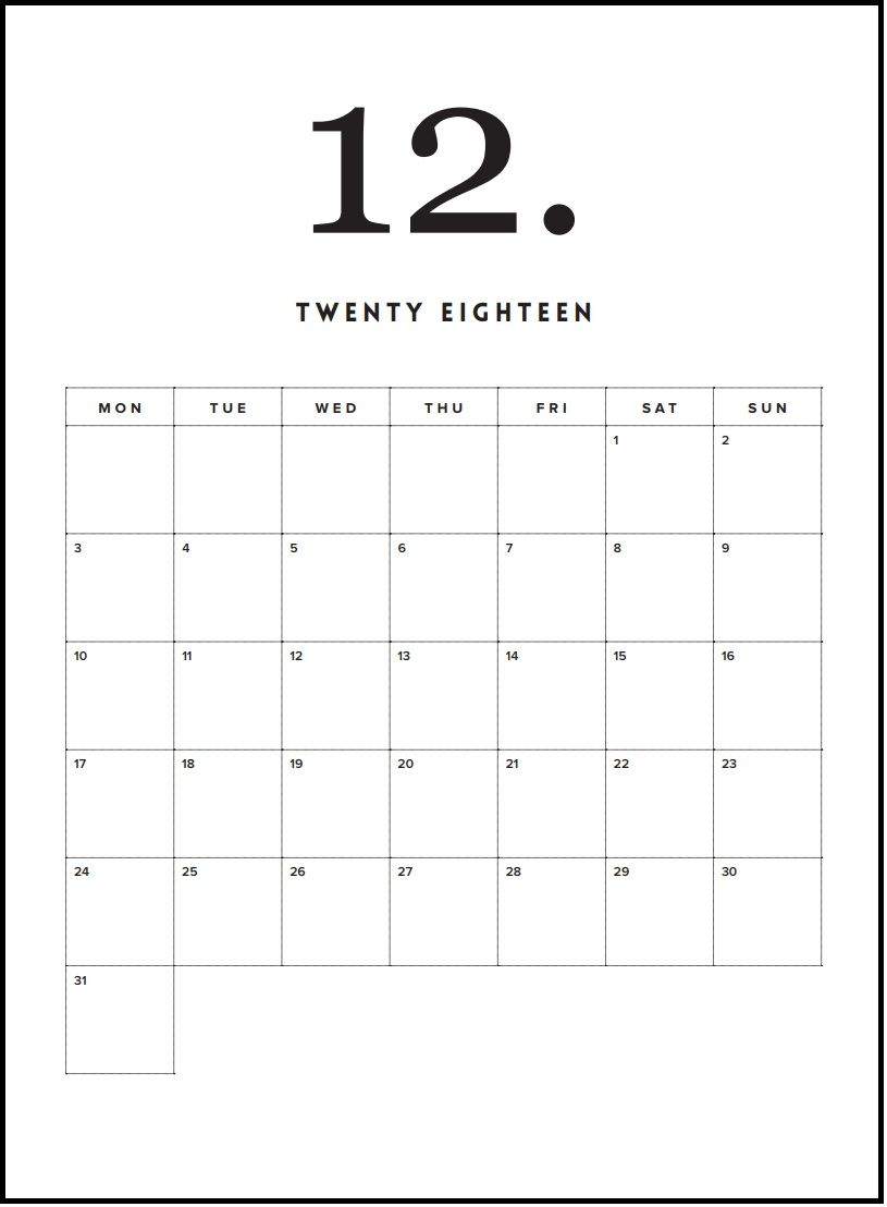 free printable december minimal calendar 2018 printable calendar