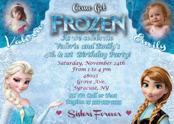 Frozen Party Invitation For Two Friends Siblings By Gallery4less Frozen Birthday Party Invites Frozen Party Invitations Frozen Party