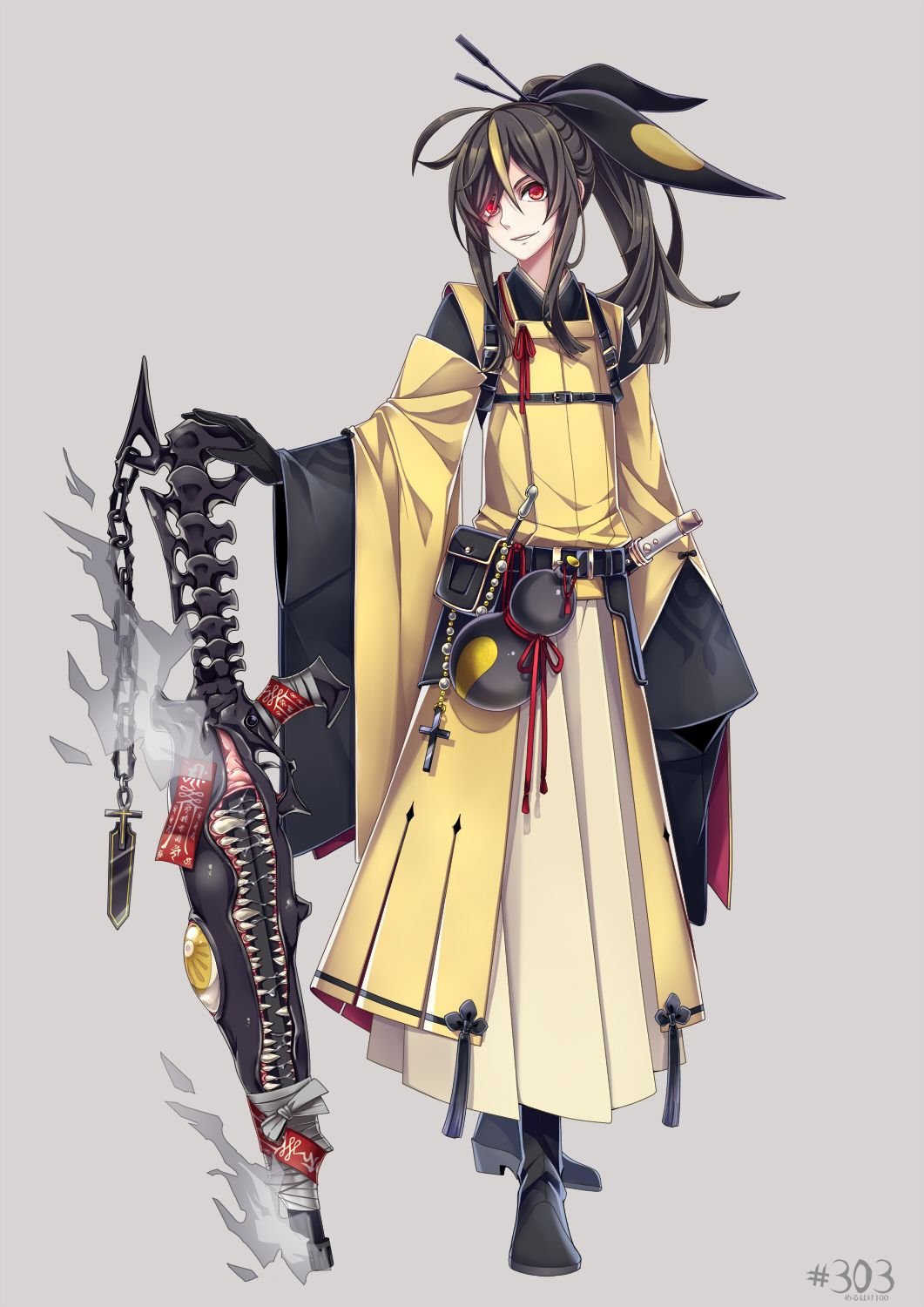 1boy arm_at_side bandages beads belt belt_pouch black_boots black_gloves black_hair black_ribbon boots chain cross fanny_pack fire full_body gloves gourd grey_background hair_between_eyes hair_ornament hair_stick hakama highres holding_weapon japanese_clothes kiseru long_hair looking_at_viewer male_focus mawile merlusa multicolored_hair number ofuda personification pipe pokemon pokemon_(game) ponytail red_eyes ribbon saliva sharp_teeth simple_background smile smoking_pipe solo spine…