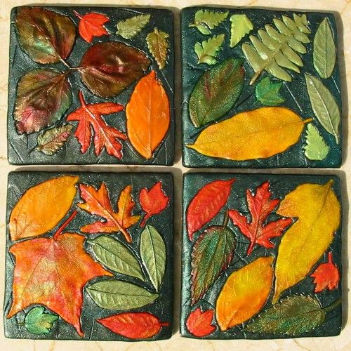 Fall leaf polymer clay coasters set of four | ArtmakersWorlds - Housewares