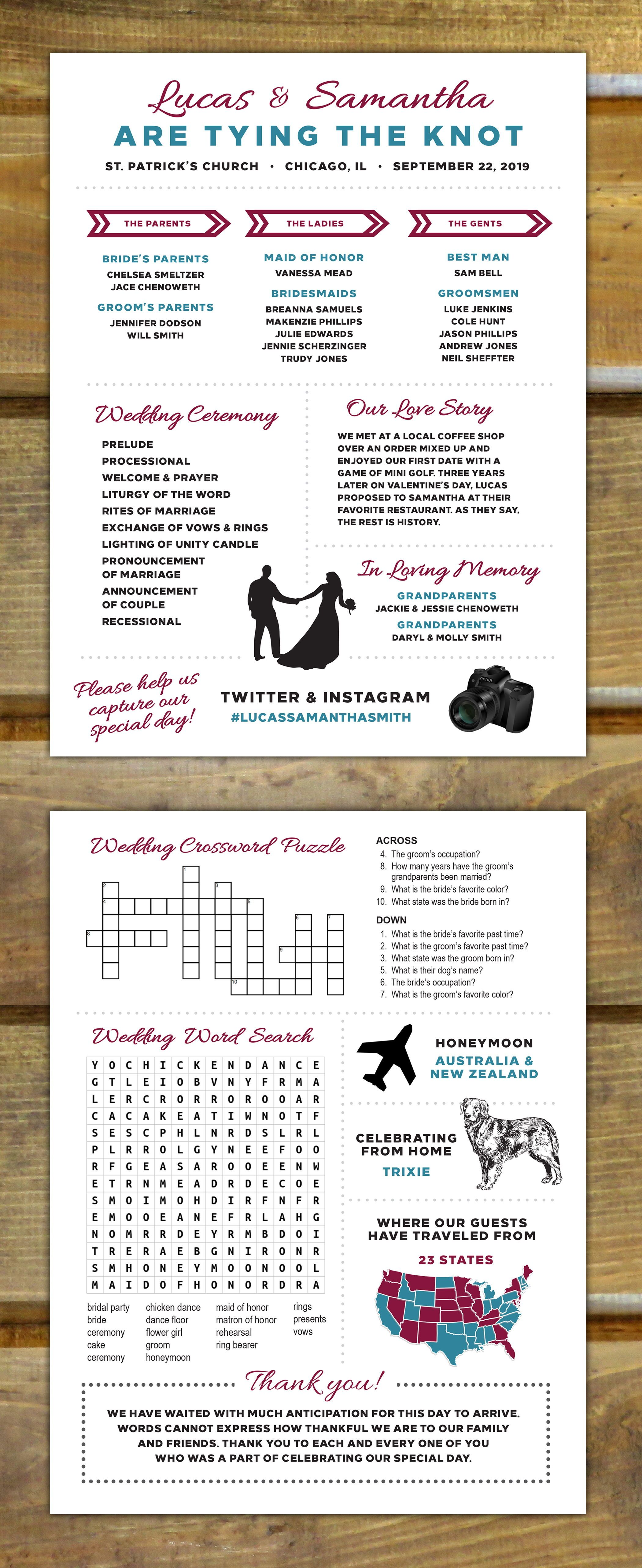 unique infographic wedding program with crossword puzzle and word