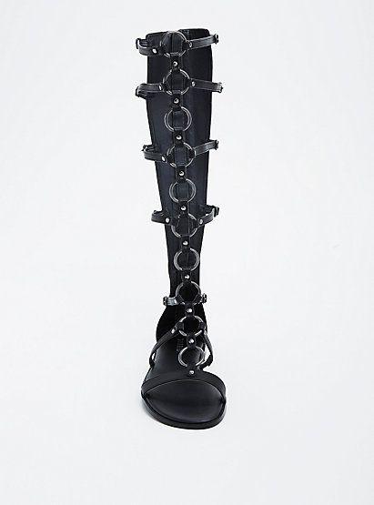O Ring Knee Gladiator Sandals (Wide Width & Wide Calf