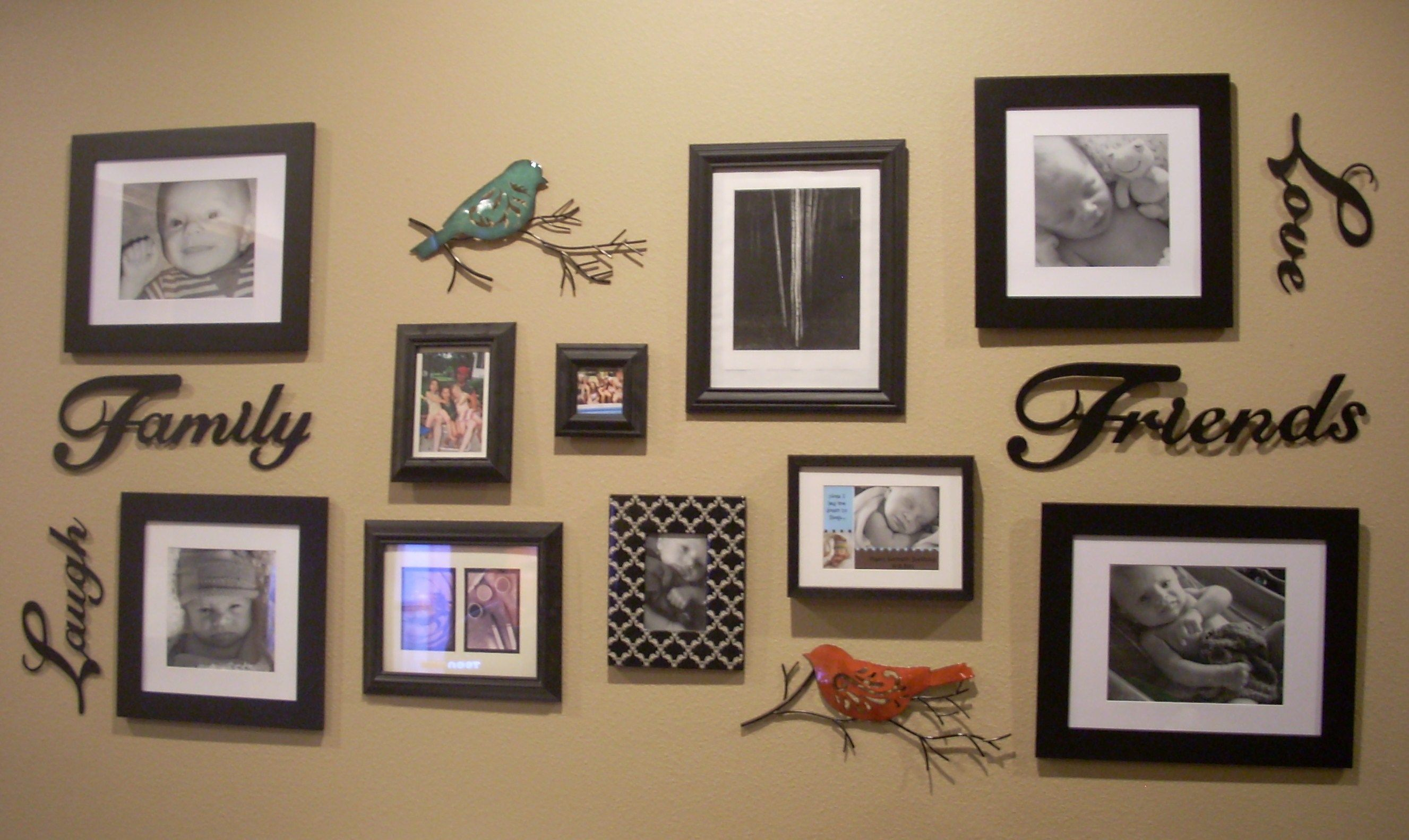 Frame Collage Mixed With Some Fun Accents Hanging Words Horizontally
