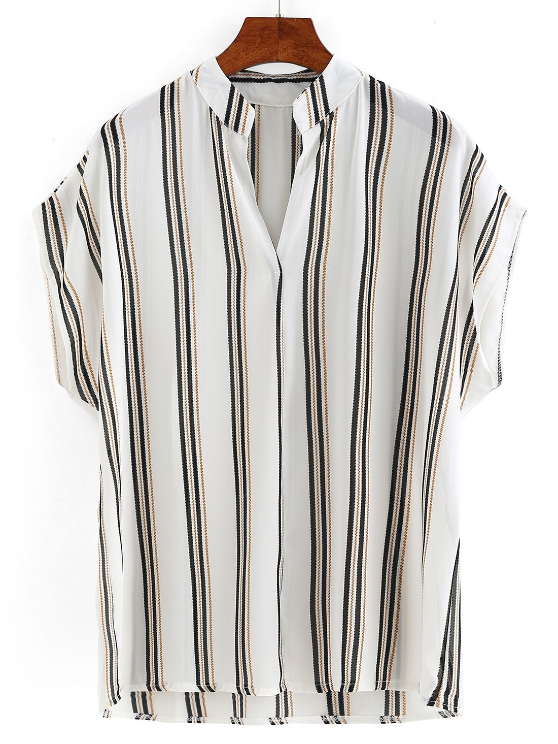 Band Collar Vertical Striped Blouse -SheIn(abaday)