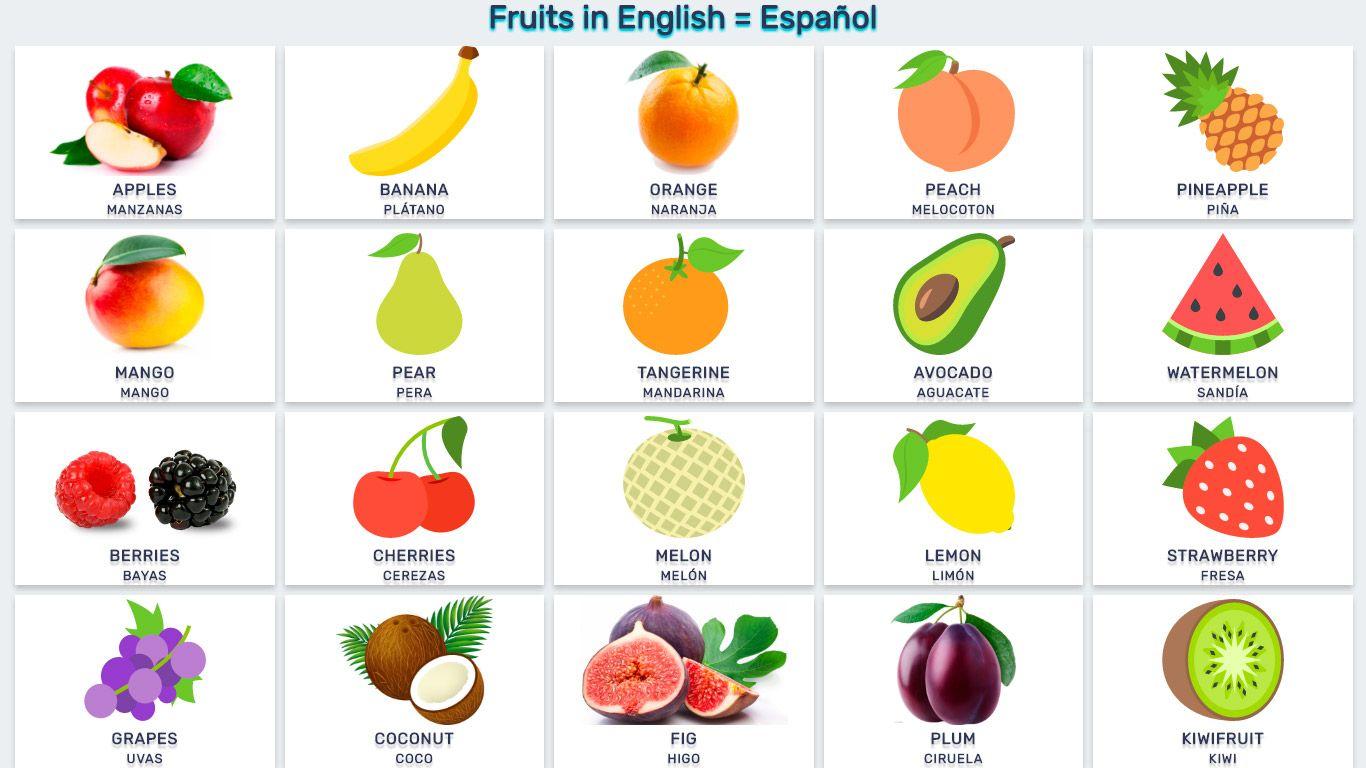 Frutas En Inglés Y Español En Listas Y Imagenes Verduras En Ingles Fruta Para Niños Frutas
