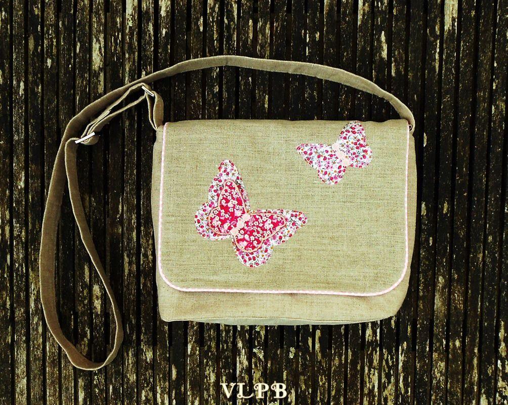 7d621e9229e7 Sac besace lin naturel et papillons coton et liberty   Sacs bandoulière par  vero-les