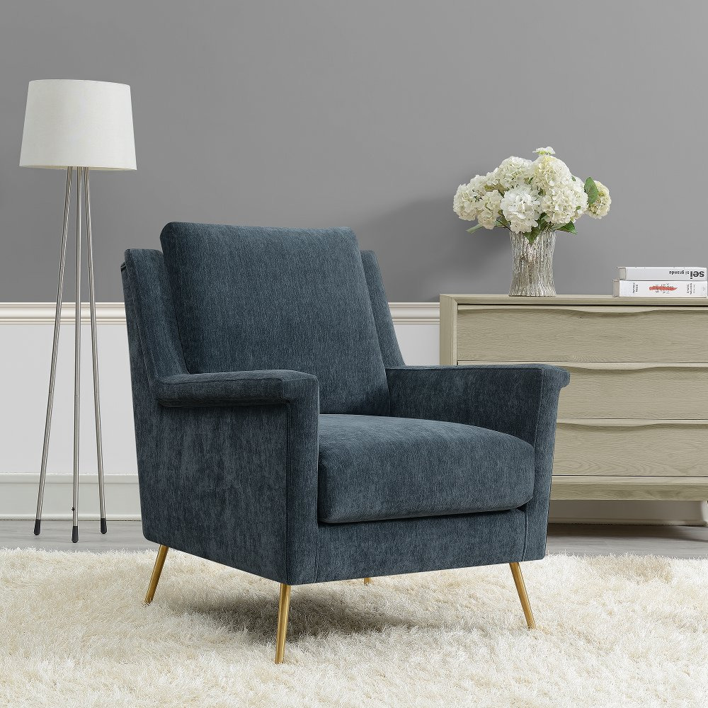 Best Mid Century Modern Slate Blue Accent Chair Cambridge In 400 x 300