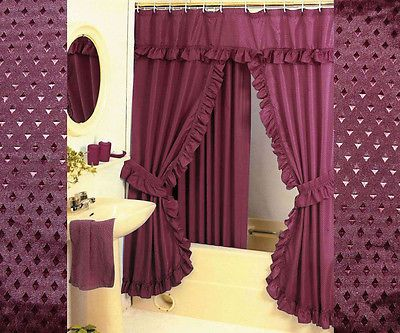 DOUBLE SWAG SHOWER CURTAINLINER 12 FABRIC COVERED RINGS