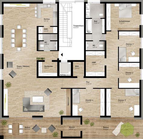 wohnung grundriss ein bad f r 4 schlafr ume bei einer derart gro en wohnung unm gliche. Black Bedroom Furniture Sets. Home Design Ideas