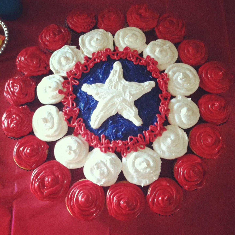 Captain America Cupcake Cake Best Birthday Pull Apart Cupcake Cakes