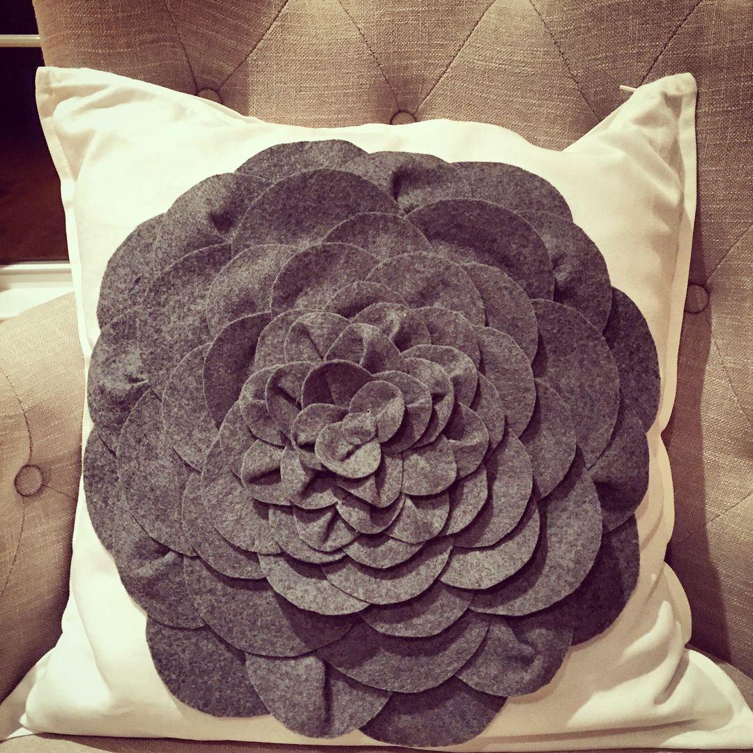 Pretty Felt Flower Pillow