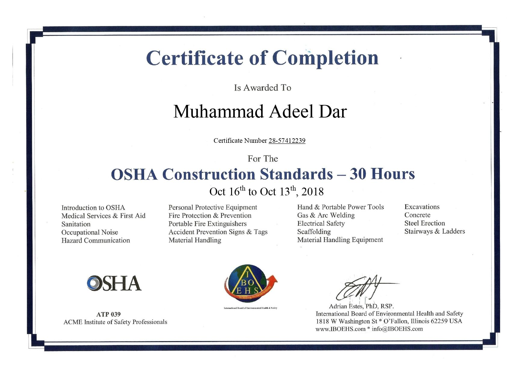 INTRODUCTION The OSHA 30hour Construction Industry