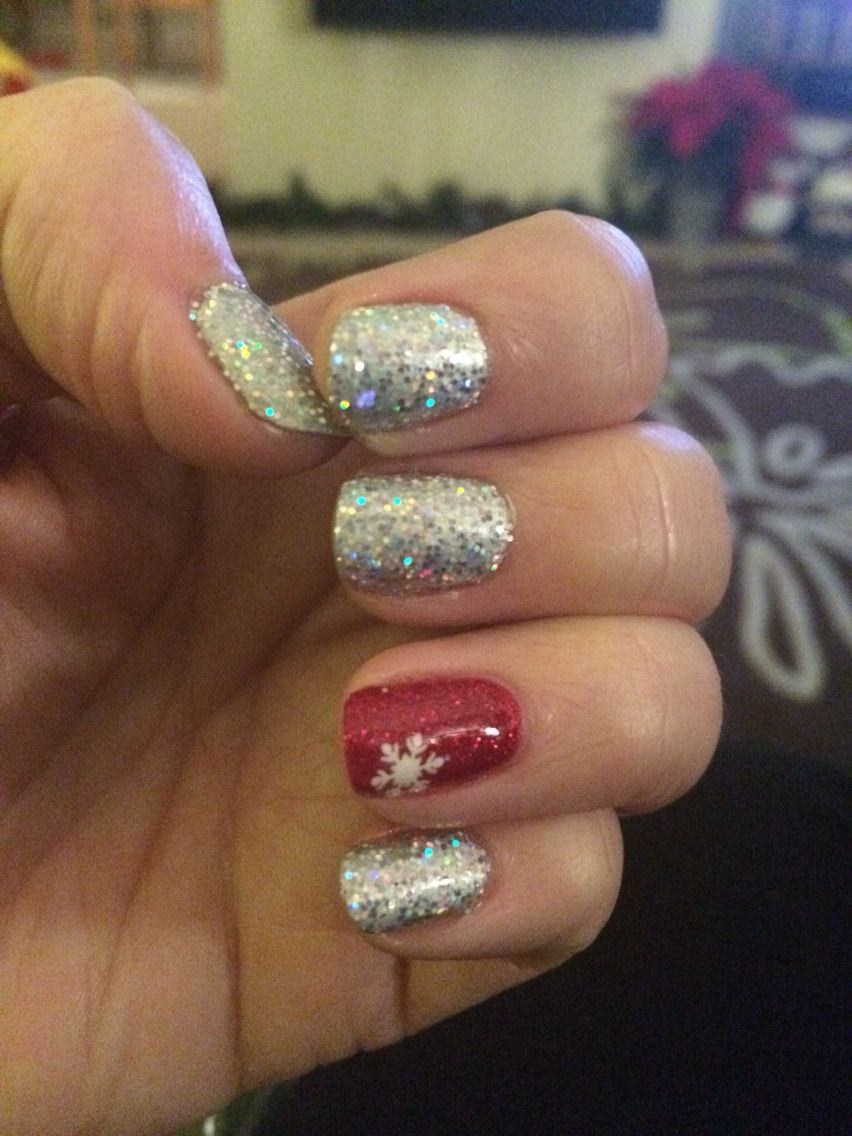 Christmas Nails Grey Shellac With Silver Glitter Red